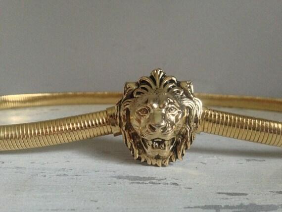 Vintage Accessocraft Lion Head Belt / Gold Lion Head / Lion Belt / Snake Belt / 70s fashion