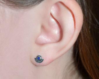 Lapis Stud Earrings - 2mm Lapis Post Earings - Silver Stud Earrings - Cartilage Earring Stud - Helix Earring - Conch Jewelry