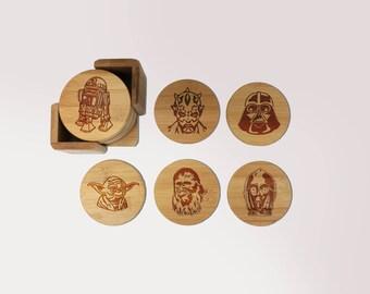 Star Wars Coasters, Custom Wood Coaster Set, Round Wood Coaster Set, Engraved Coasters, Initial Coaster Set- Set of 6  --6096