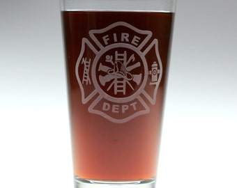 Maltese Cross logo Firefighter etched Pint Glass,fireman,christmas,dad,father,uncle,brother,spouse