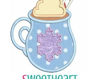 Hot Chocolate Applique Design, Winter Machine Embroidery Applique, Christmas Applique 4x4 5x7 6x10 8x8