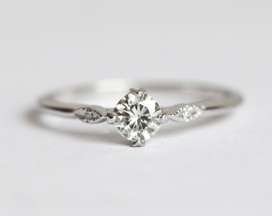 Moissanite Engagement Ring Prong Set Diamond Ring Diamond