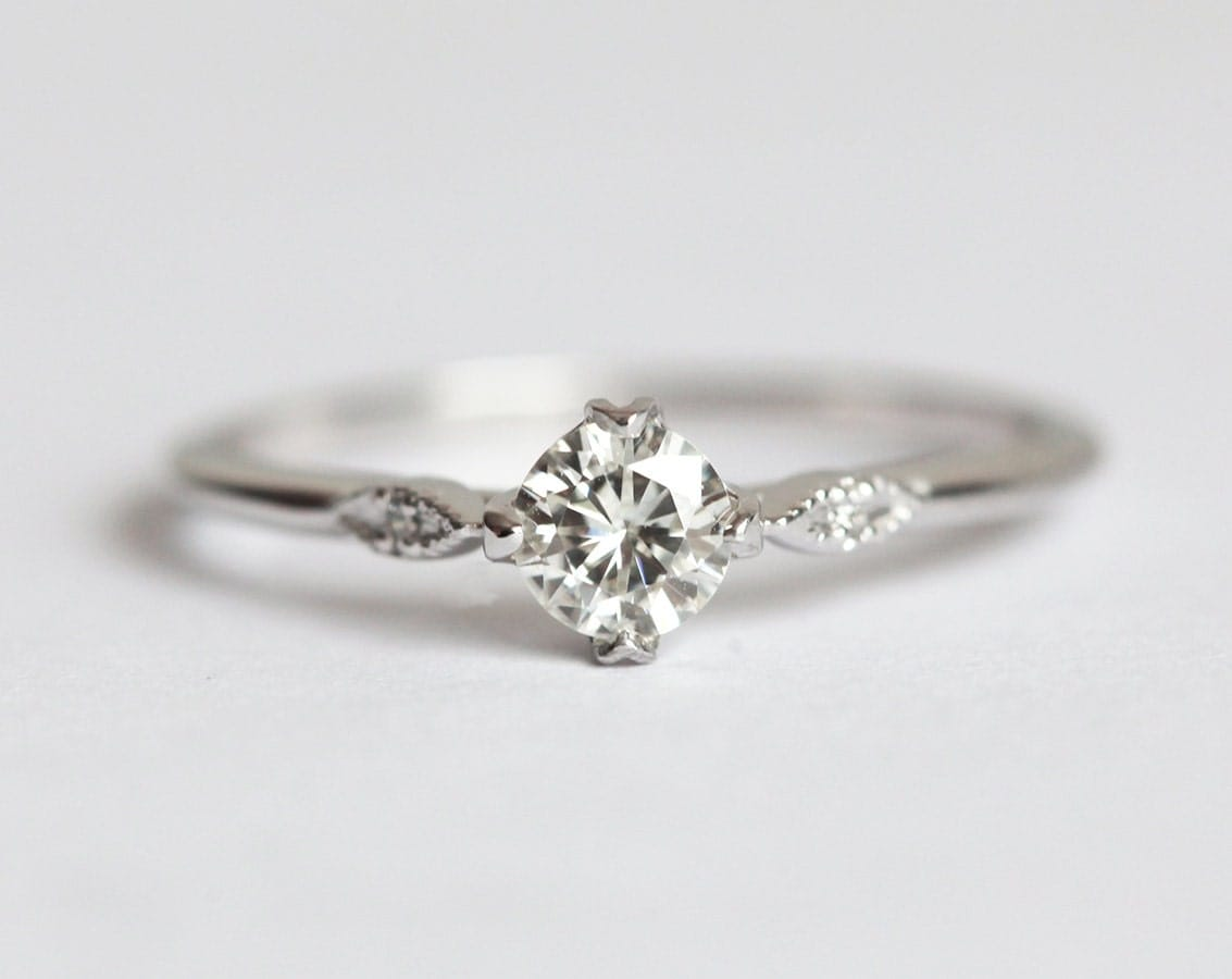 moissanite engagement ring prong set ring