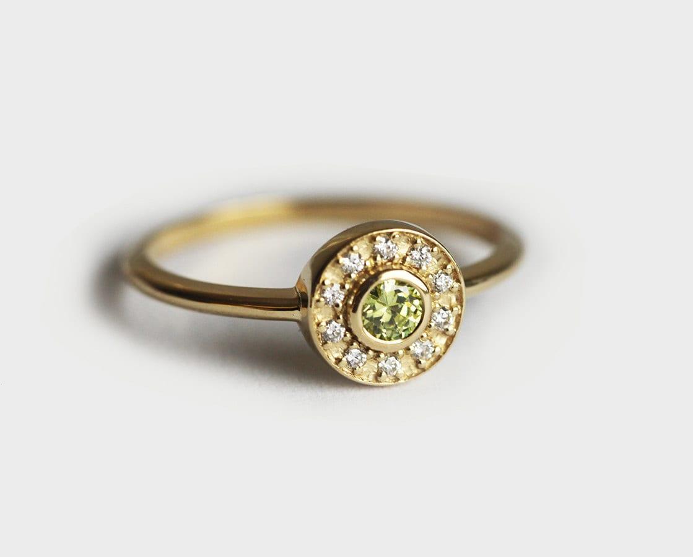 gold peridot ring peridot engagement ring halo peridot ring