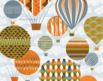 Hot air balloons limited edition giclée print A4