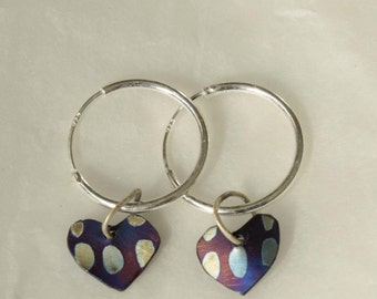 Silver hoops with hearts