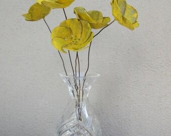 Bouquet of Buttercups --  Bouquet, Metal Flowers, Metal Sculpture, Shabby Chic