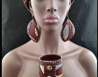 Brown African Swirl Bracelet Set