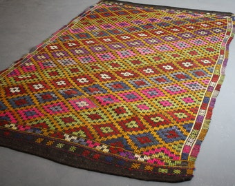Mid Century Handwoven Turkish Ikat Rug 10 FT by  5.5 FT