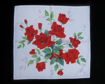 Vintage Red Roses Floral Handkerchief/ Napkin
