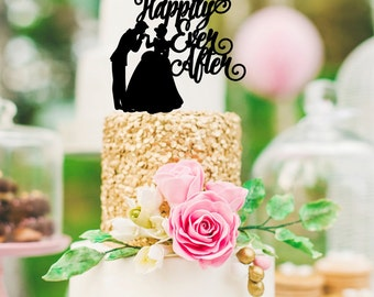 Happily Ever After Wedding Cake Topper with Cinderella & Prince Charming