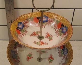 Vintage Japanese Porcelain - Handpainted - Trico Nagoya Japan - Original metal stand - Tiered bowls - Floral - midcentury porcelain - glazed