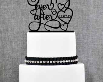 Hearts Happily Ever After with DATE, Unique Wedding Cake Toppers, Elegant Custom Wedding Cake Topper- (T234)