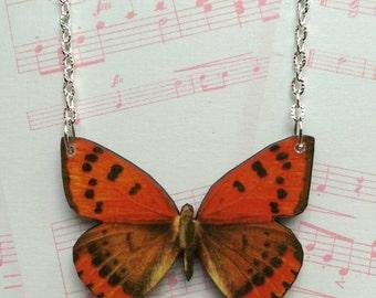 Butterfly necklace orange and black butterfly pendant necklace - wooden butterfly necklace nature festival butterfly jewellery