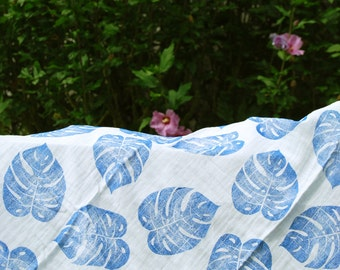 Philodendron leaf handprinted baby blanket, indigo muslin swaddle blanket, blue muslin swaddle blanket, blue baby shower, blue baby gift