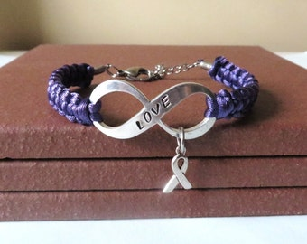 Purple LOVE Awareness Charm Bracelet Pancreatic Cancer Alzheimers Dementia Crohns Disease Domestic Violence Foster Care Sarcoidosis