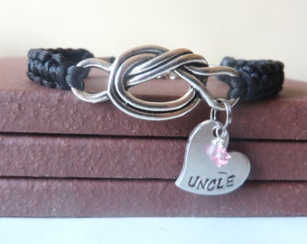 Uncle Crystal Birthstone Hand Stamped Love Knot Bracelet You Choose Your Birthstone Charm and Cord Color(s)