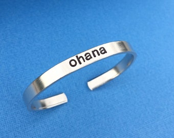 "Ohana Hand Stamped Bracelet Aluminum Skinny Cuff Bangle Means Family Hawaiian Quote Geekery - 1/4"" Wide"