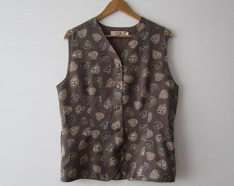 Vintage Sand Brown Vest Leaf Print Button Up Waistcoat Hippie Festival Vest Size Medium