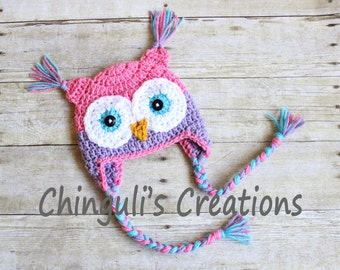 Crochet Owl Hat, Baby Pink and Purple Owl Beanie Girls Owl Pink Purple Turquoise Owl Hat Newborn Baby Owl Hat Toddler Owl Hat