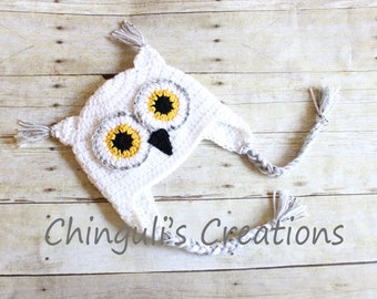 Crochet Owl Hat Baby Owl Hat Kids Owl Hat White Owl hat White Owl Beanie White Gray Yellow and Black Owl Hat Newborn Owl hat Toddler Owl Hat