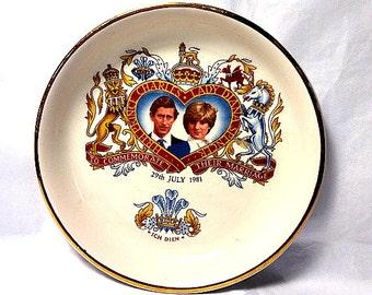 Prince Charles, Lady Diana Spencer, Royal Wedding Souvenir, Vintage Pin Dish, 1981 Royal Collectible, Prince of Wales, Princess Diana