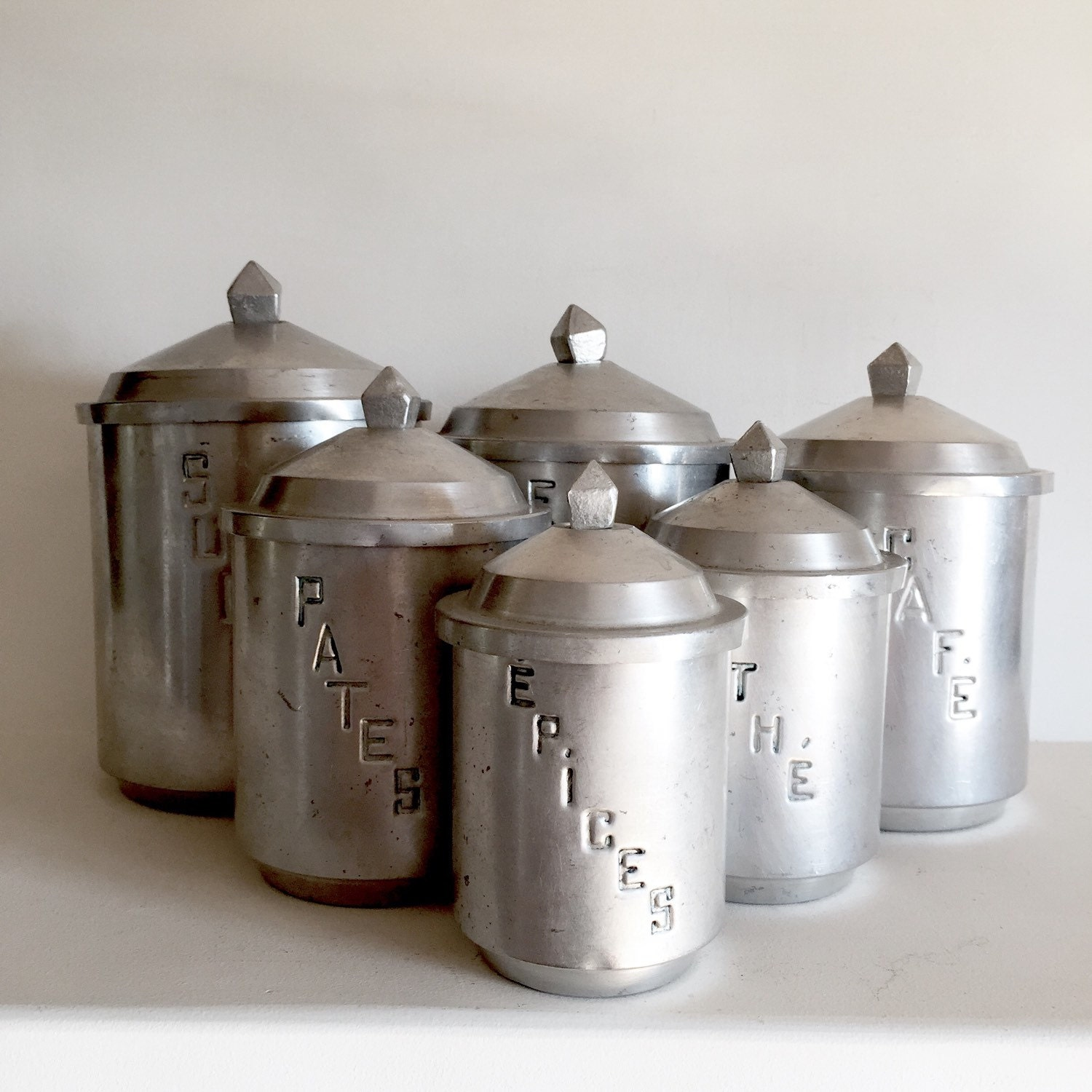 unique french vintage aluminum kitchen canisters set of 6