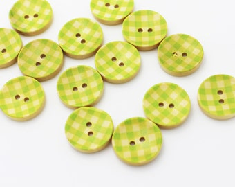 Green Plaid Wood Button, Check Pattern Wooden Buttons, Decorative Button, Two Holes,Children Button, Picnic Plaid Button, Green, 20mm