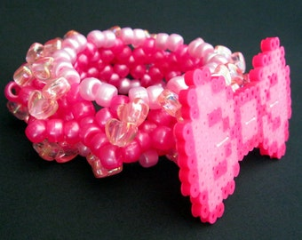 3D Kandi Wristlet with Pink Bow Perler
