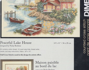 Peaceful Lake House Counted Cross Stitch Kit Dimensions 35230 Unopened