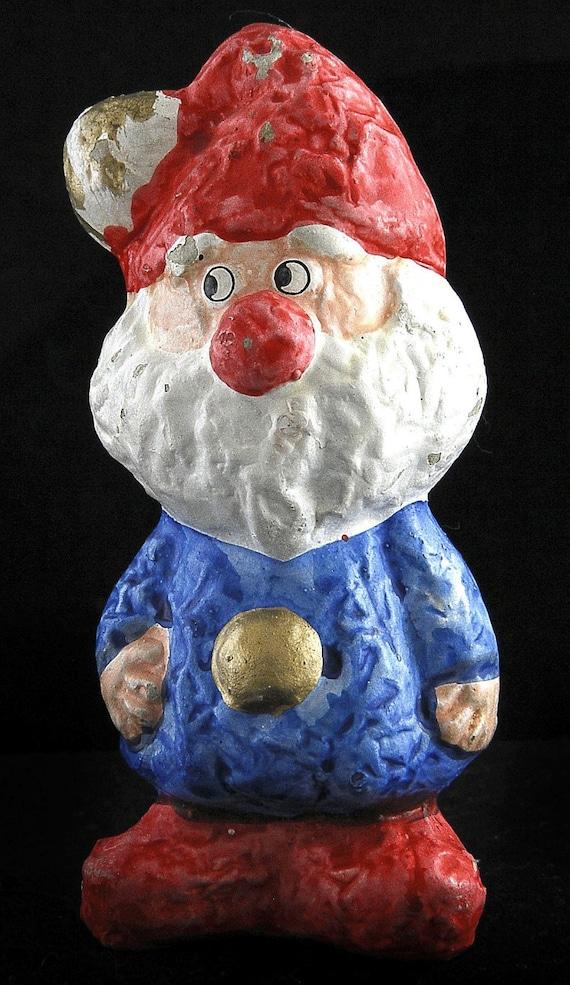 Vintage ceramic gnome santa claus figurine rb japan blue red