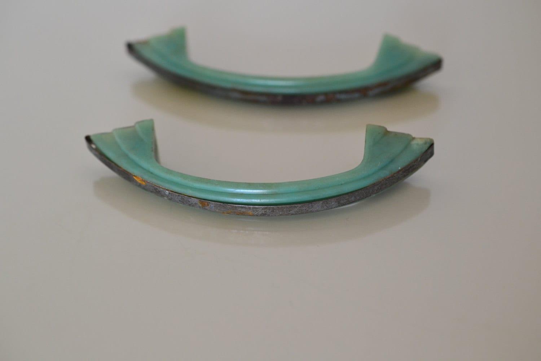 2 Bakelite Drawer Pulls Art Deco Jadeite Green Amp Chrome