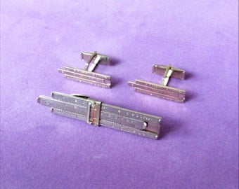 Slide Rule Tie Clip and Cuff Links Set Engineer Tie Clasp Vernon Tie Tack Sterling Silver