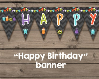 Monster birthday banner Monster Birthday Happy birthday banner Monster pennant banner Monster party Instant download PRINTABLE Digital PDF