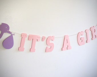 Stork, It's A Girl, Banner, Baby Shower, Girl Baby Shower, Pink and Purple, Stork Banner,Stork Theme, Girl Shower, You choose your colors!
