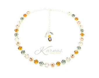 AUTUMN'S ARRIVAL 8mm Crystal Chaton Necklace Swarovski Elements *Pick Your Finish *Karnas Design Studio *Free Shipping*
