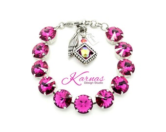 FUCHSIA 12mm Crystal Rivoli Bracelet Made With Swarovski Elements *Pick Your Finish *Karnas Design Studio *Free Shipping*