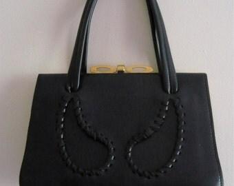 Vintage 1960s Navy Leather Handbag