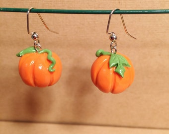 Handmade Pumpkin Polymer Clay Earrings