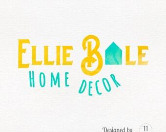Watercolor logo design with house, home decor logo, premade business branding