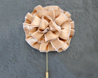 Wedding Boutonniere Gold Fabric Flower Boutineer Champagne Satin Lapel Pin Wedding Groom Groomemen Buttonhole Corsage Pin Gold READY TO SHIP