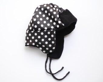Water-Resistant Black Polkadot Earflap Hat