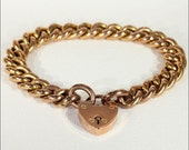 Antique 9k Rose Gold Curb Link Bracelet with Heart Lock Clasp, Hallmarked 1904