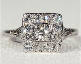 Art Deco Diamond Engagement Ring, Square Halo Ring in Platinum, Vintage