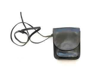 Vintage 1980's  Leather Black Crossbody Flap Bag