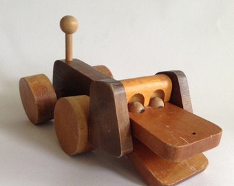 Vintage Wooden Pull Toy Dog