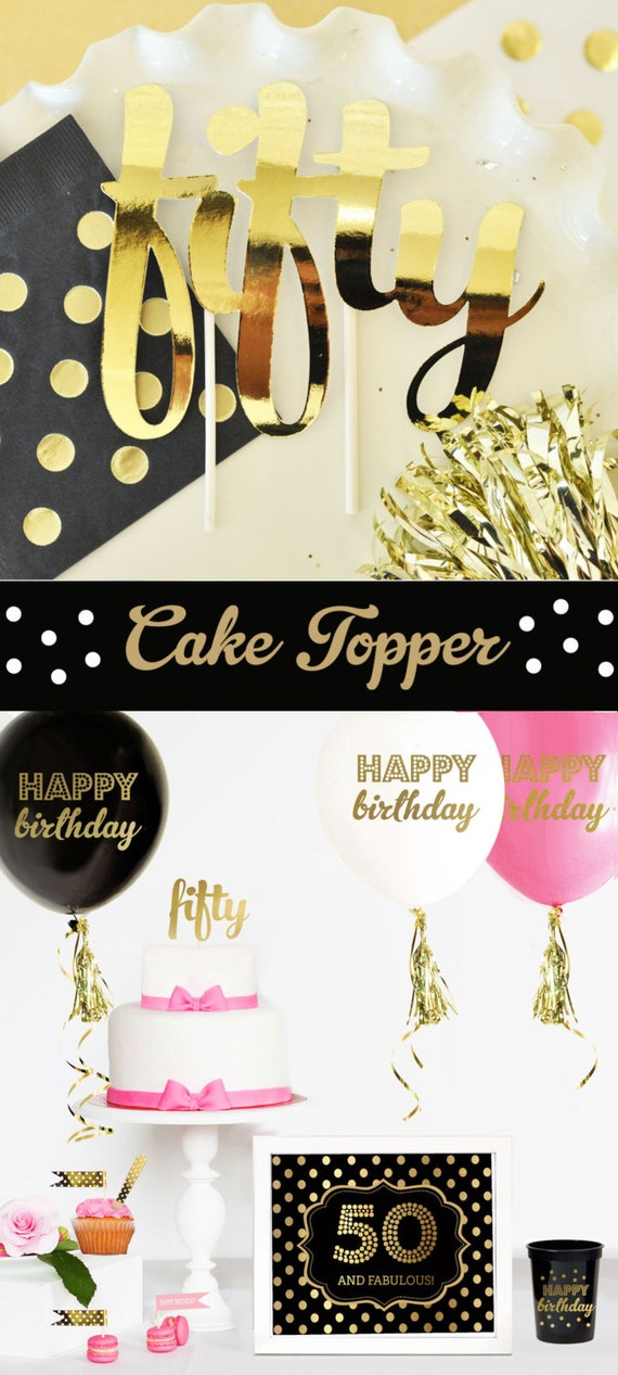 50 Cake Topper - 50th Birthday Cake Topper - 50th Birthday Party Ideas ...