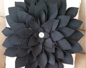 Neutral Felt Flower Pillow