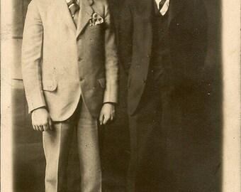 Original 1920s Photograph RPPC Two Dapper Young Gentlemen Dressed to Impress