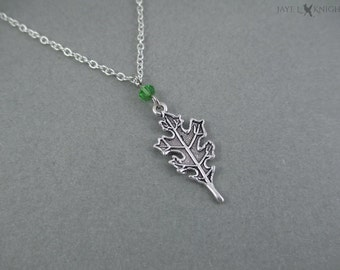 Small Silver Oak Leaf Charm Necklace - Ranger's Apprentice Inspired